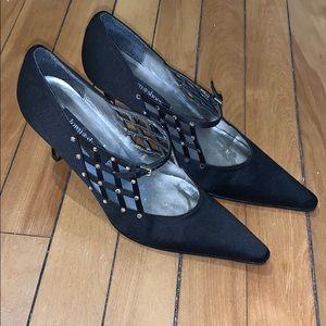 Town Shoes Black Satin & Crystal Kitten Heels 6.5